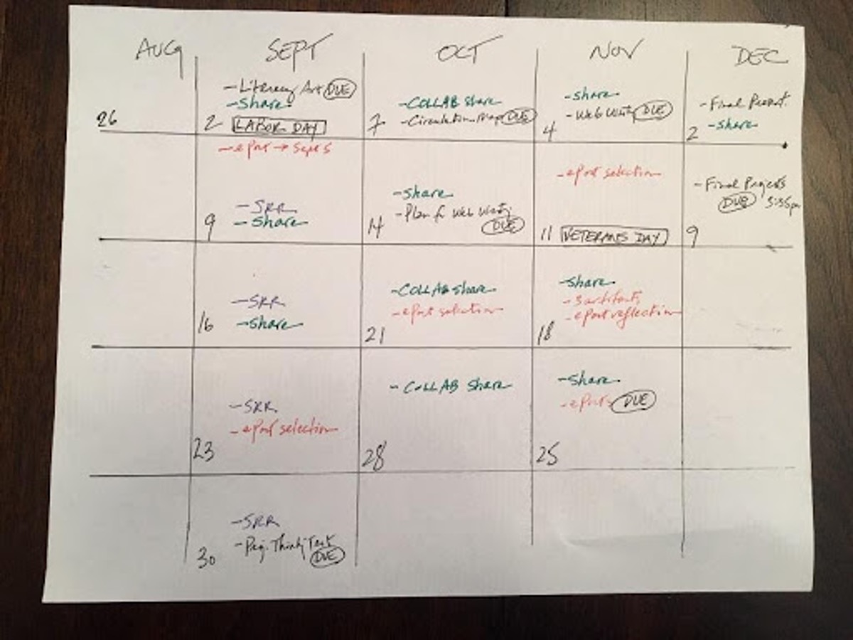 """The course on a page is a hand drawn calendar for the fall semester with tasks such as """"share"""" and due dates laid out for the whole course."""