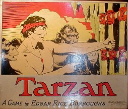 Cover image of the Tarzan board game featuring a man, Tarzan, wearing a red bandana and pendant. He is standing amid a crow of four apes and pulling at a bamboo gate.