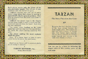 """This is an image of the first two pages of the Tarzan game's instruction guide, which explains how the game is played and shows the first page of """"The Story Played in this Game."""""""