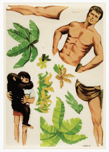 """This image features the """"rub-on"""" images that will fill in the blank page of figure 4. Tarzan's torso, legs, palm trees, patches of grass, and a child holding a chimpanzee can be transferred to the blanks in the other page of the magazine."""